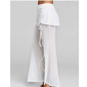 Pants - Wide Leg Pants Cozy Chic Lace Up Peplum